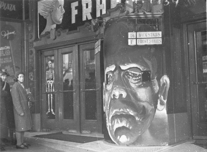 Bride of Frankenstein_Theater box office converted into the face of Frankenstein's monster to publicize the opening of Bride of Frankenstein.