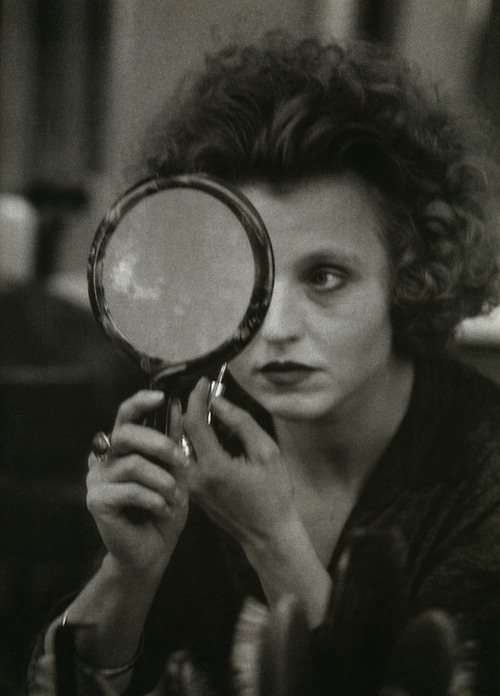 Hannah_Alfred  Hanna Schygulla, the German film star, applying her makeup for a scene in Berlin Alexanderplatz, Munich, 1980