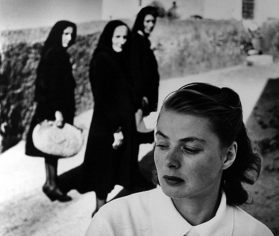 ingrid bergman attracts curiosity of local women in the village where she is on location for roberto rossellini's 'stromboli', italy, 1949 photo by gordon parks