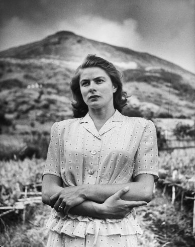 Ingrid Bergman during filming of the movie, Stromboli, on the Italian island of Stromboli, 1949.