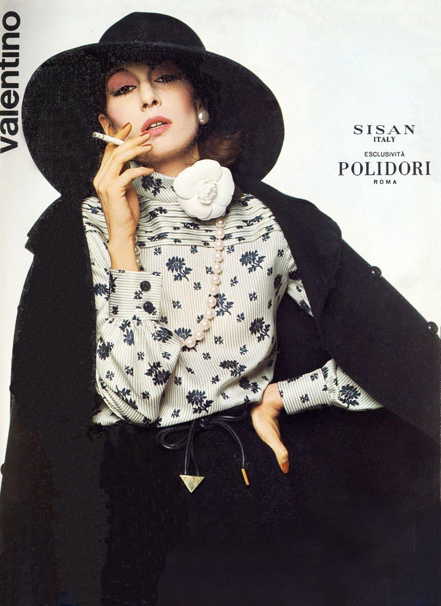 Anjelica Huston models for Valentino.