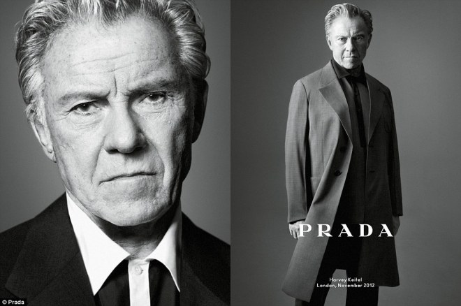 Harvey Keitel features in the new campaign wearing the brand's lightweight coats and shirts