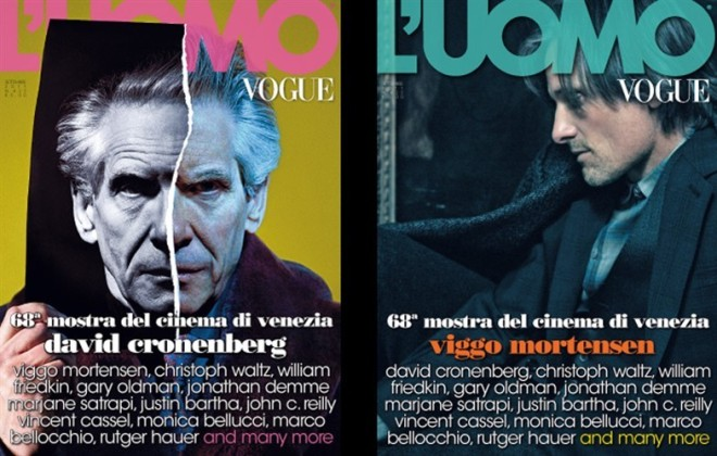 David Cronenberg and Viggo Mortensen covers the September issue of L'Uomo Vogue