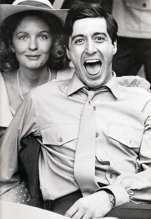 Diane Keaton and Al Pacino on the set of The Godfather