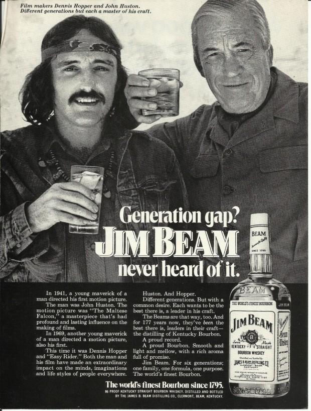 Hopper_Magazine advertisement for Jim Beam whisky featuring Dennis Hopper and John Huston, 1972. Retrieved from eBay.