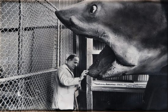Ingmar Bergman admiring Bruce on the set of Jaws