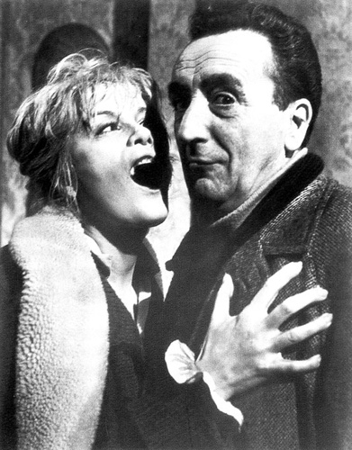 Italian director Mario Bava joking around with French actress Jacqueline Pierreux (mother of  Jean-Pierre Leaud) during the filming of BLACK SABBATH (1963).