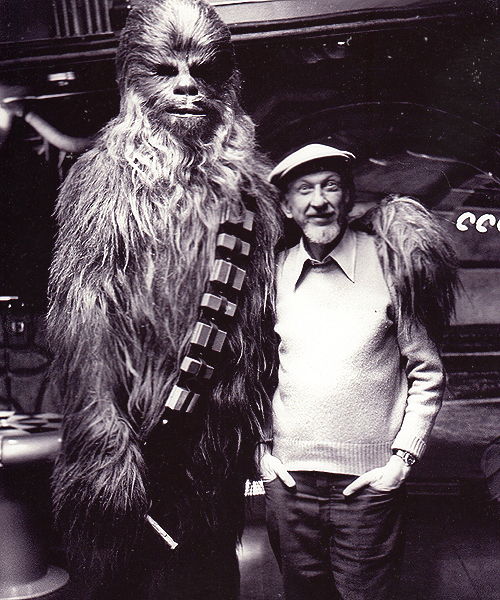 Peter Mayhew and Irvin Kershner on the set of Star Wars Episode V - The Empire Strikes Back (1980)