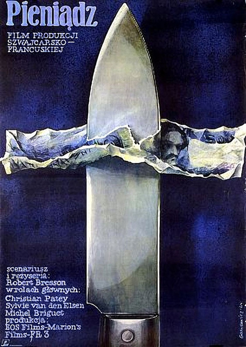1984 Polish poster for L'ARGENT (Robert Bresson, France, 1983 by Zygmunt Gornowicz