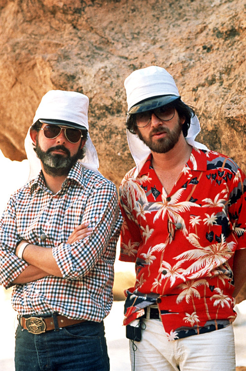George Lucas & Steven Spielberg on the set of Raiders of the Lost Ark