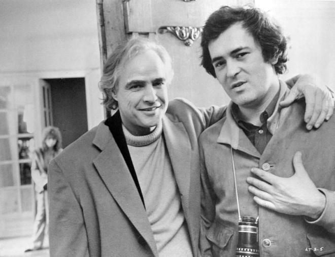 Marlon Brando and Bernardo Bertolucci on-set of Last Tango in Paris (1972)