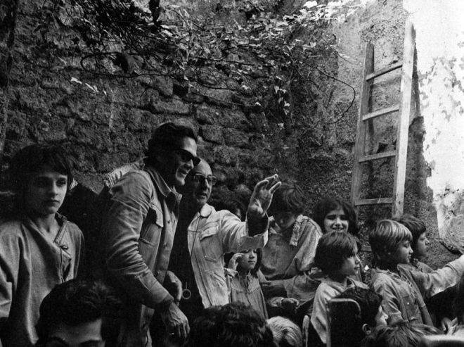 Director Pier Paolo Pasolini and cinematographer Tonino Delli Colli at work on Il Decameron