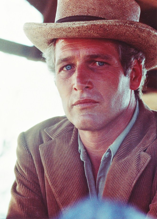 Paul Newman photographed on the set of Butch Cassidy and the Sundance Kid, 1968.