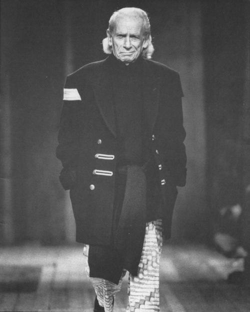 Samuel Fuller modelling Yohji Yamamoto.