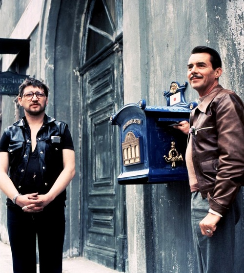 Rainer Werner Fassbinder & Dirk Bogarde on the set of Despair