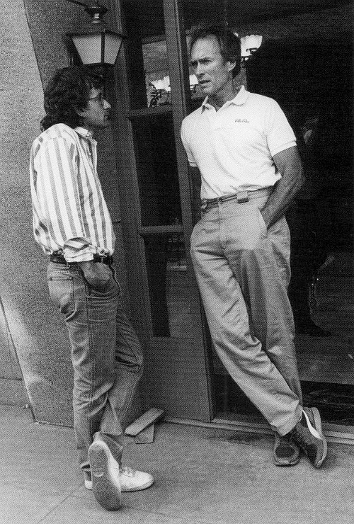 Clint Eastwood and Steven Spielberg talk shop on the Warner Bros. lot in 1985 when Eastwood was directing an episode of Spielberg's Amazing Stories.