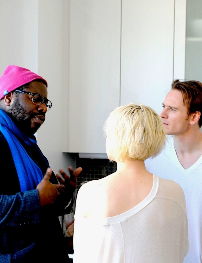 Steve McQueen with Michael Fassbender and Carey Mulligan filming Shame (2011)