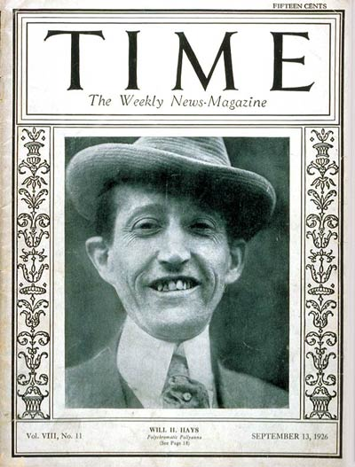 Will Hayes_TIME_sept 13 1926