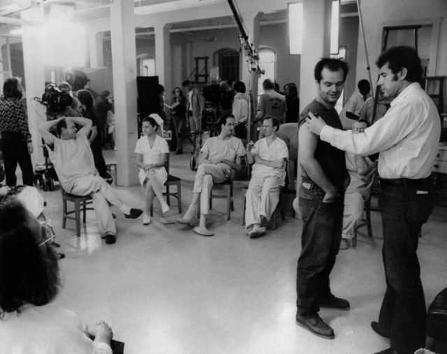 Jack Nicholson and Milos Forman on-set of One Flew Over the Cuckoo's Nest (1975)