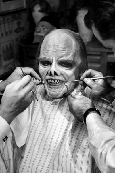 JAMES CAGNEY - James Cagney being made up for Man of a Thousand Faces (1957).