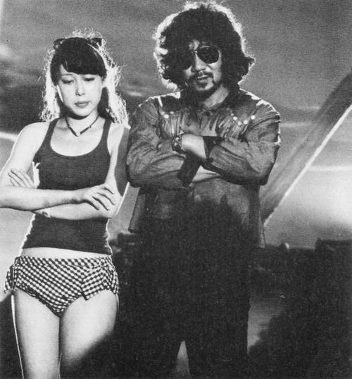 Nobuhiko Obayashi with Miki Jinbo on the set of Hausu (House)