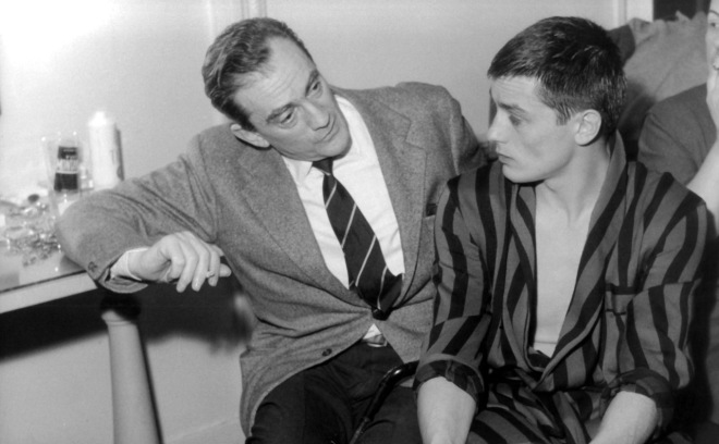 On the set of Rocco e i suoi fratelli; with Luchino Visconti.-3