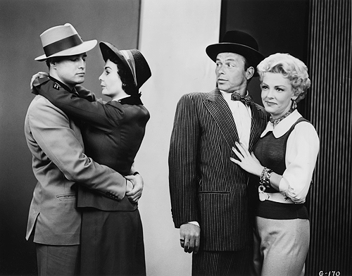 Promotional shots of Marlon Brando, Jean Simmons, Frank Sinatra, and Vivian Blaine for Guys and Dolls (1955)_2