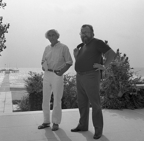 Robert Bresson and Sergio Leone in Venice, 1972.