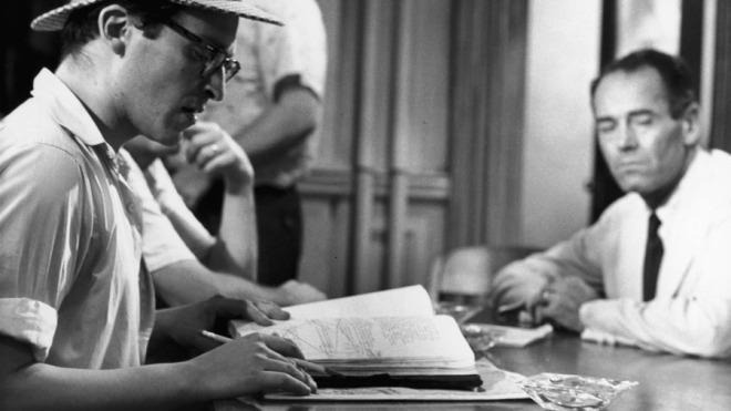 """Sidney Lumet, Henry Fonda behind the scenes of """"12 Angry Men"""""""