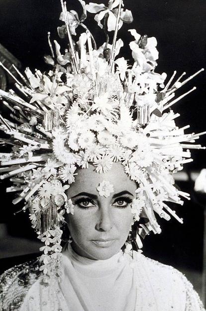 Karl Lagerfeld's headdress for Elizabeth Taylor in the 1967 movie Boom!
