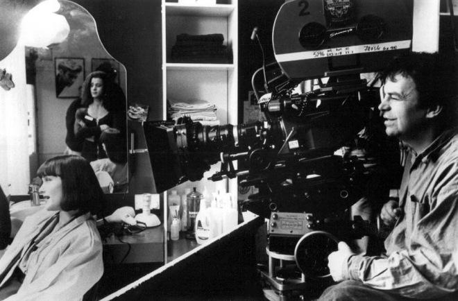 Miranda Richardson, Jaye Davidson and director Neil Jordan on the set of The Crying Game