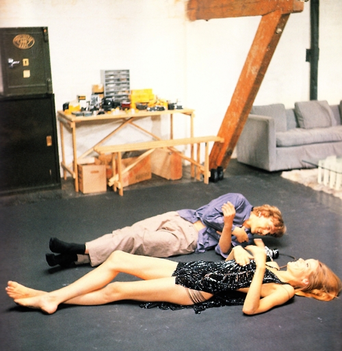 David Hemmings and Veruschka on the set of Blow-Up