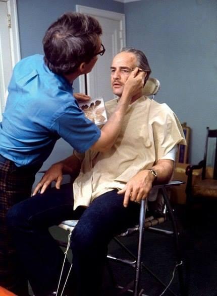 Dick Smith adding wrinkles to Marlon Brando's face.