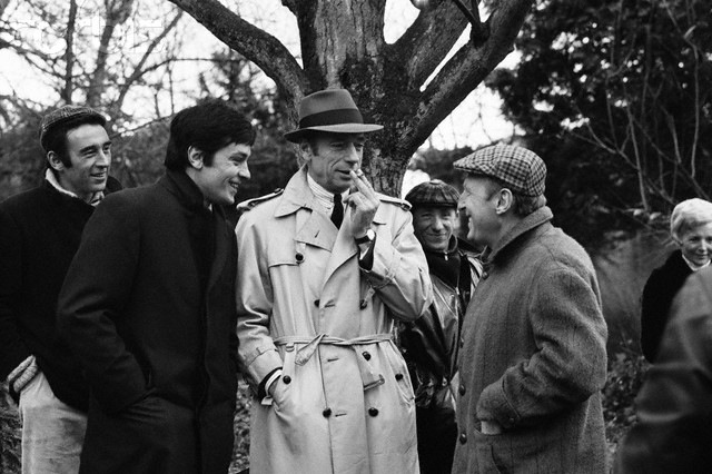 On the set of Le cercle rouge with Yves Montand and Bourvil.