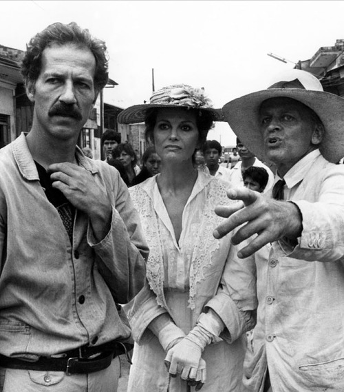 Werner Herzog, Claudia Cardinale & Klaus Kinski on the set of Fitzcarraldo