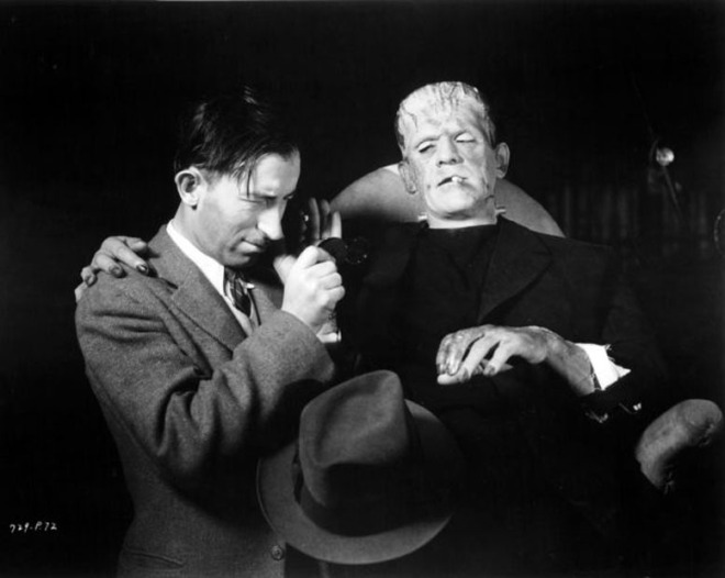BLOG_Director of photography John Mescall and Boris Karloff between shots of The Bride of Frankenstein