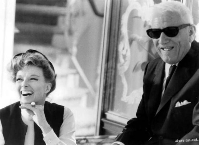 Katharine Hepburn and Spencer Tracy laugh it out on the set of Guess Who's Coming to Dinner, 1967