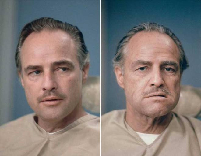 Marlon Brando, before and after the makeup applied on him by the Dick Smith on The Godfather. His transformational work compelled others to deem Smith The Godfather of Makeup.