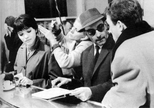 On the set of Vivre Sa Vie (1962, dir. Jean-Luc Godard).