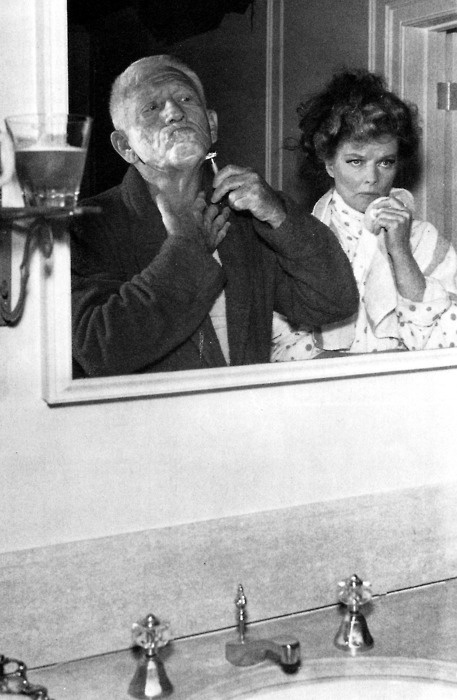 Spencer Tracy and Katharine Hepburn between takes of Guess Who's Coming to Dinner (1967)