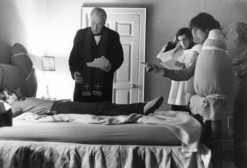 William Friedkin and cast on the set of The Exorcist (1973)-2