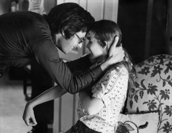 William Friedkin and Linda Blair on-set of The Exorcist (1973)