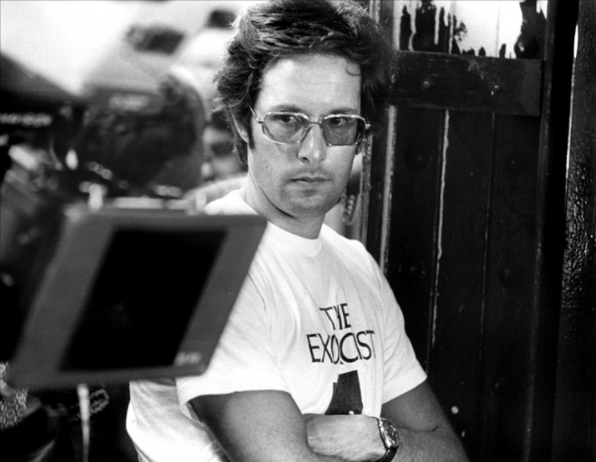 William Friedkin on the set The Exorcist (1973).