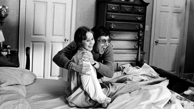 William Friedkin with Linda Blair on the set of The Exorcist
