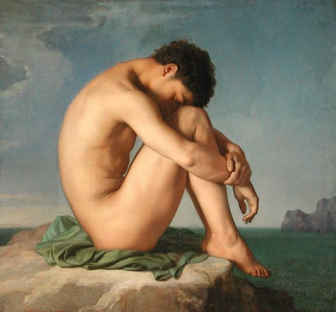 Young Male Nude Seated Beside the Sea