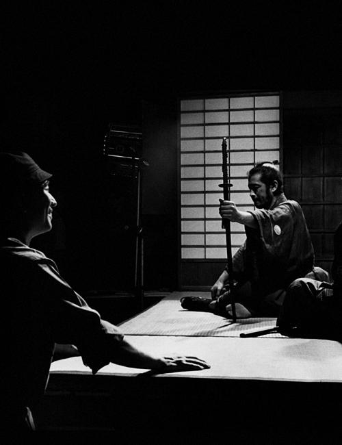 Akira Kurosawa and Toshiro Mifune on the set of Sanjuro (1962).
