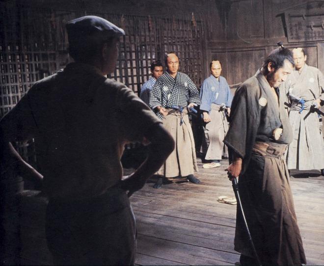Akira Kurosawa and Toshiro Mifune shooting a scene for Sanjuro (1962).
