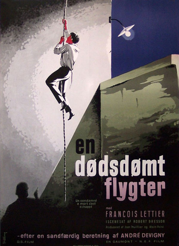 Danish poster for A MAN ESCAPED (Robert Bresson, France, 1956) Artist-Stilling