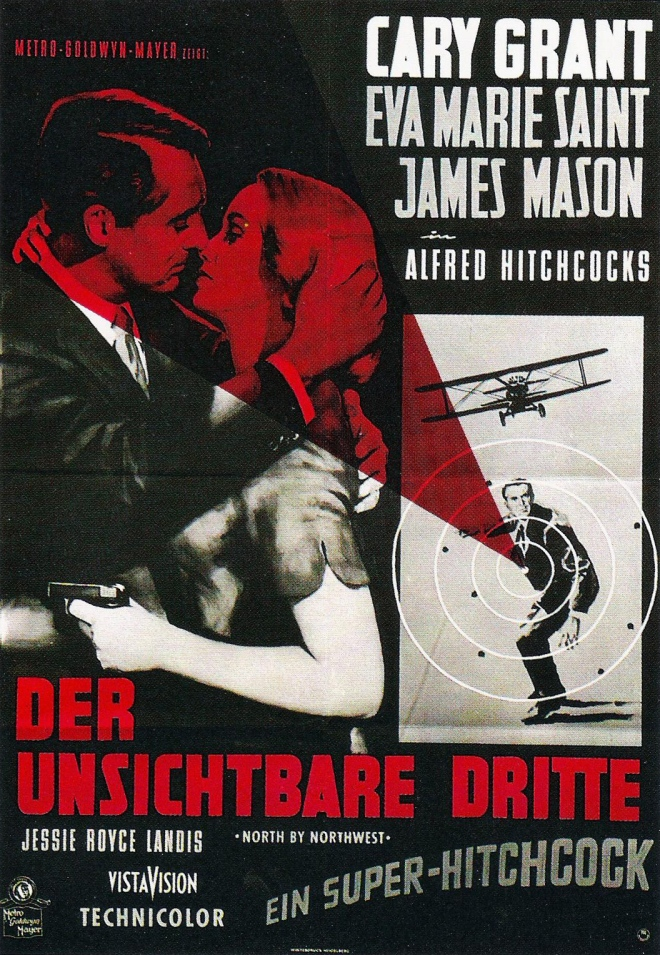 German poster for North by Northwest (1959, Alfred Hitchcock).