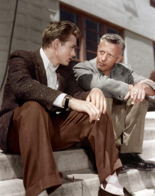 James Dean & Nicholas Ray on the set of Rebel Without a Cause